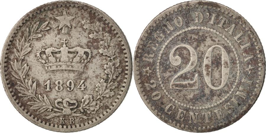 World Coins - Italy, Umberto I, 20 Centesimi, 1894, Berlin, , Copper-nickel, KM:28.1