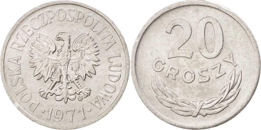World Coins - POLAND, 20 Groszy, 1971, Warsaw, KM #A47, , Aluminum, 20, 0.95
