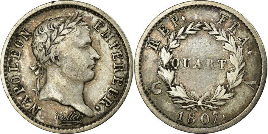 World Coins - Coin, France, Napoléon I, 1/4 Franc, 1807, Paris, EF(40-45), Silver, KM:678.1