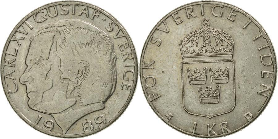 World Coins - Coin, Sweden, Carl XVI Gustaf, Krona, 1989, , Copper-nickel, KM:852a