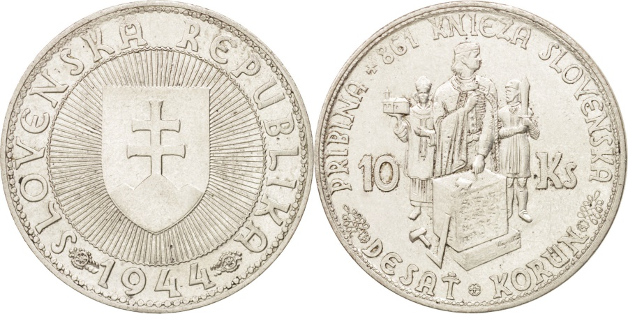 World Coins - Slovakia, 10 Korun, 1944, , Silver, KM:9.1