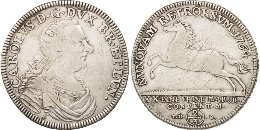 World Coins - German States, BRUNSWICK-WOLFENBUTTEL, 2/3 Thaler, 1764, E/IDB, KM 973.1
