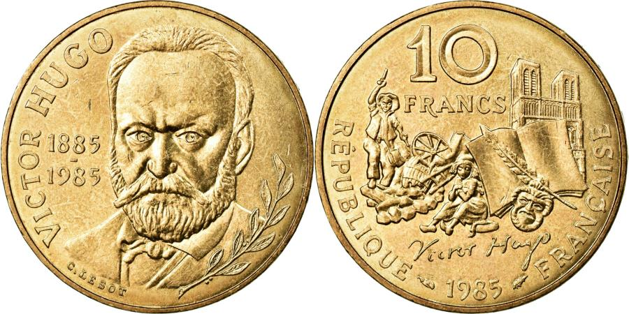 World Coins - Coin, France, Victor Hugo, 10 Francs, 1985, MS(60-62), Nickel-Bronze, KM:956