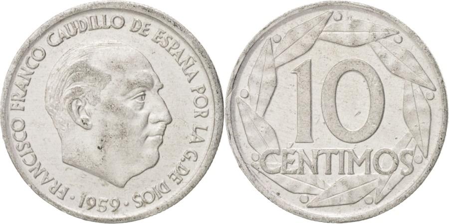 World Coins - Spain, Francisco Franco, caudillo, 10 Centimos, 1959, , Aluminum