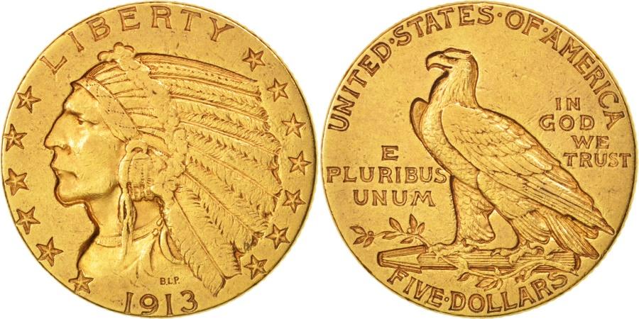 US Coins - United States, Indian Head, $5, 1913, Philadelphia, , Gold, KM:129
