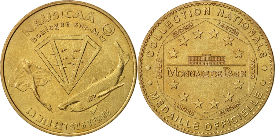 World Coins - France, Touristic token, 62/ Nausicaà - Mer sur Terre, 2003, Monnaie de Paris