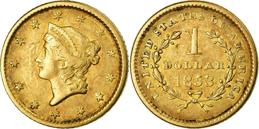 US Coins - Coin, United States, Liberty Head Dollar, 1853, Philadelphia, , Gold