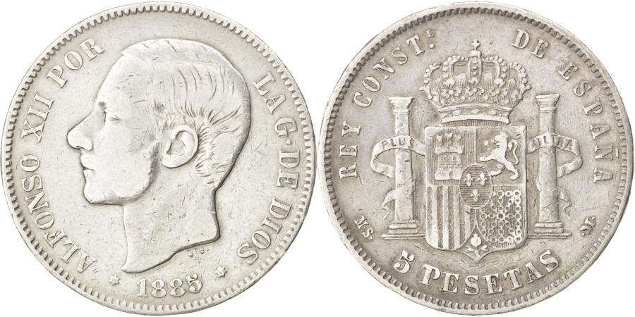 World Coins - Spain, 5 Pesetas, 1885, KM #688, , Silver, 24.59