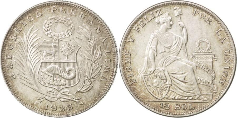 World Coins - PERU, 1/2 Sol, 1935, Lima, KM #216, , Silver, 30, 12.52