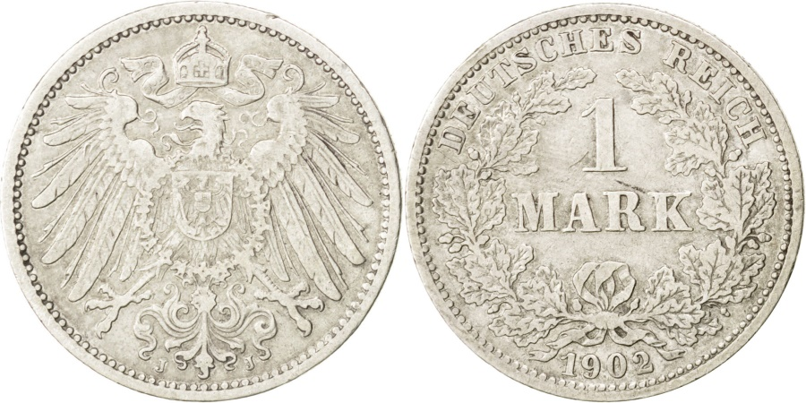 World Coins - GERMANY - EMPIRE, Mark, 1902, Hambourg, KM #14, , Silver, 24, 5.46