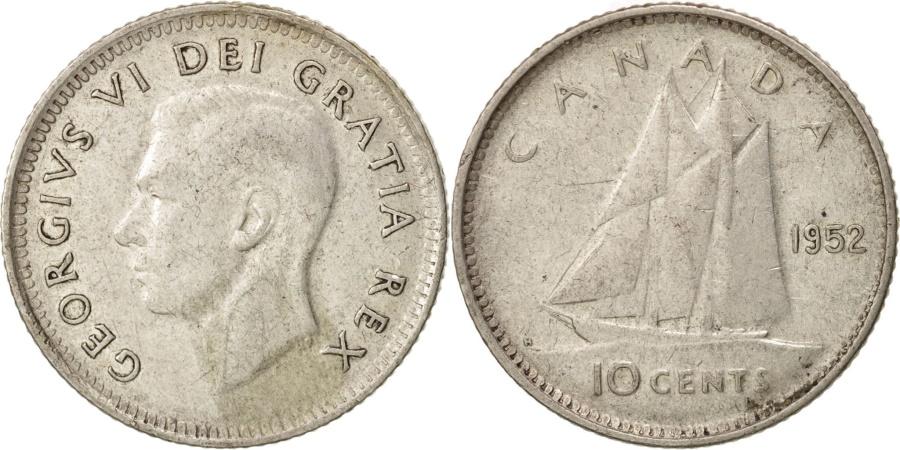 World Coins - Canada, George VI, 10 Cents, 1952, Royal Canadian Mint, Ottawa,