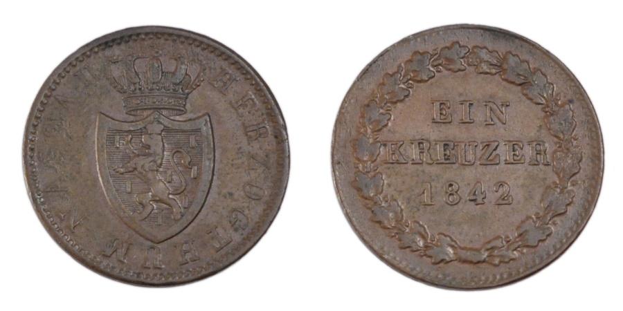World Coins - GERMAN STATES, Kreuzer, 1842, Wiesbaden, KM #67, , Copper, 3.70