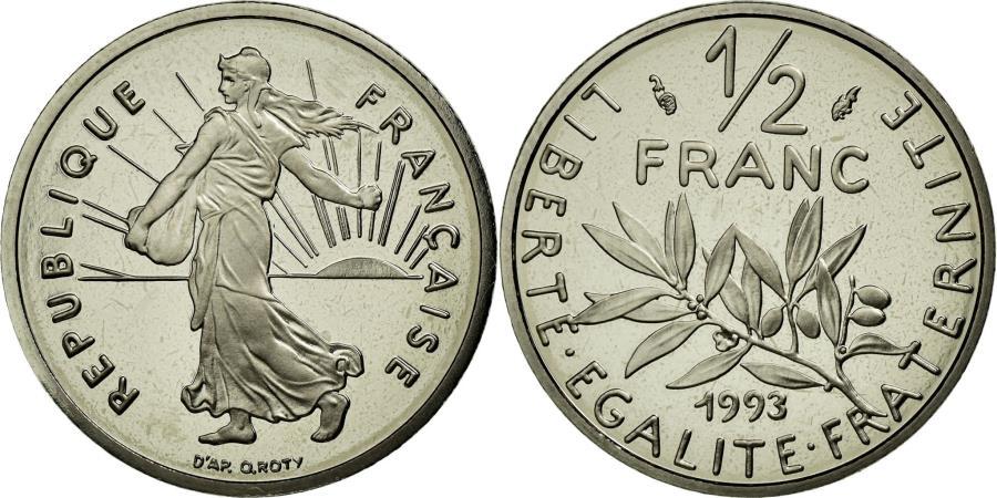 World Coins - Coin, France, Semeuse, 1/2 Franc, 1993, MS(65-70), Nickel, KM:931.2