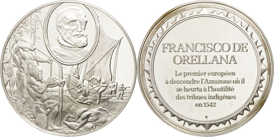 World Coins - FRANCE, Geography, French Fifth Republic, Medal, , Silver, 38, 19.90