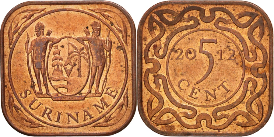 World Coins - Suriname, 5 Cents, (2012), , Copper Plated Steel