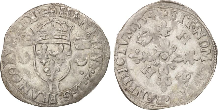 World Coins - France, Douzain aux croissants, 1554, La Rochelle, , Billon