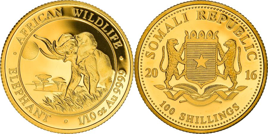 World Coins - Coin, Somalia, Elephant, 100 Shillings, 2016, 1/10 Oz, , Gold