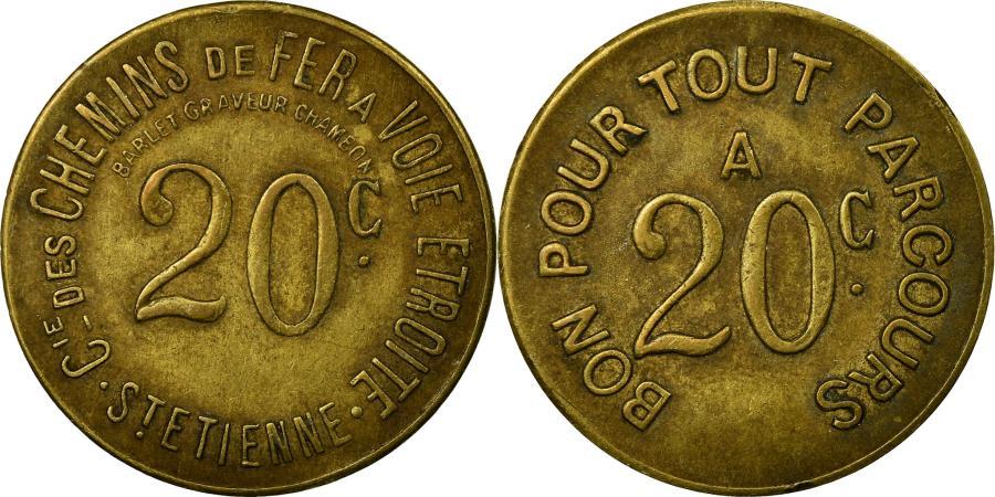 World Coins - Coin, France, Cie. des Chemins de Fer à Voie Etroite, St-Etienne, 20 Centimes
