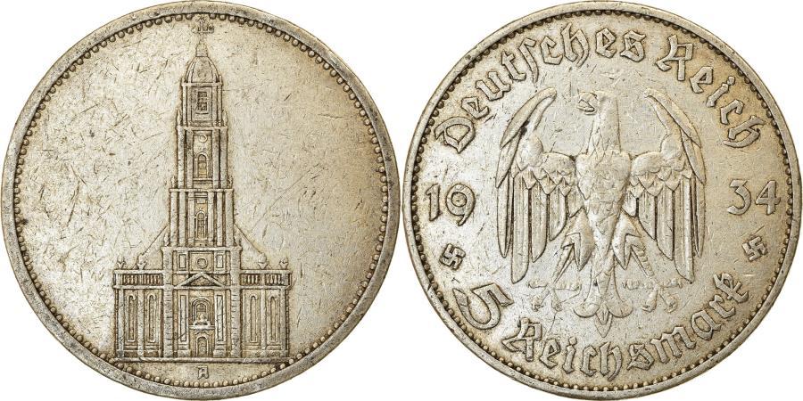 World Coins - Coin, GERMANY, THIRD REICH, 5 Reichsmark, 1934, Berlin, , Silver, KM:83