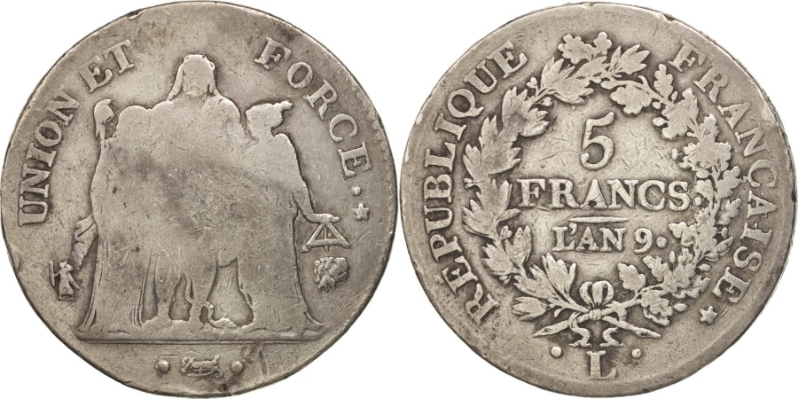 World Coins - France, Union et Force, 5 Francs, AN 9, Bayonne, , Silver, KM:639.6