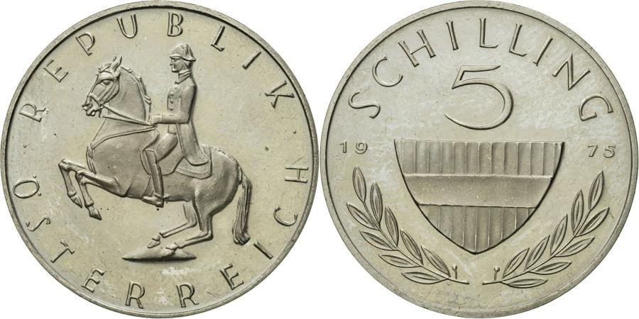 Austria 1975-5 Schilling Copper-Nickel Coin Lippizaner stallion with rider