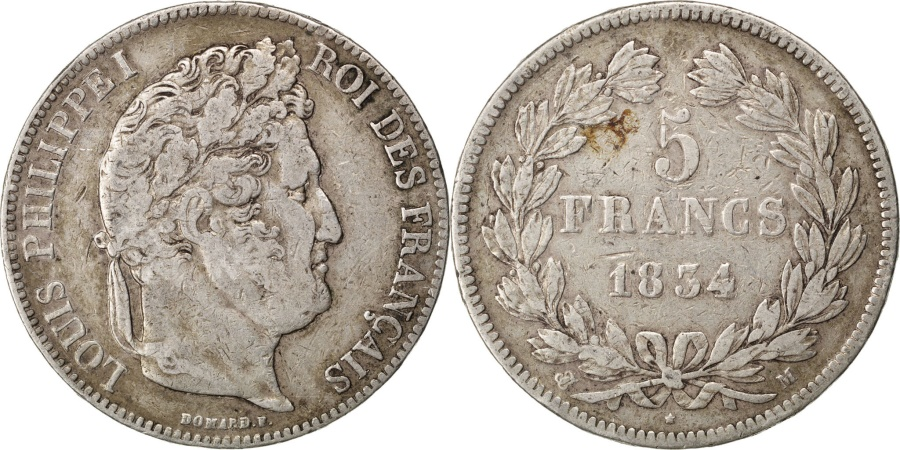 World Coins - FRANCE, Louis-Philippe, 5 Francs, 1834, Toulouse, KM #749.9, , Silver,.