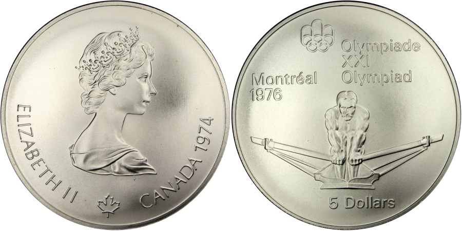 World Coins - CANADA, 5 Dollars, 1974, Royal Canadian Mint, KM #91, , Silver, 38, 24.30