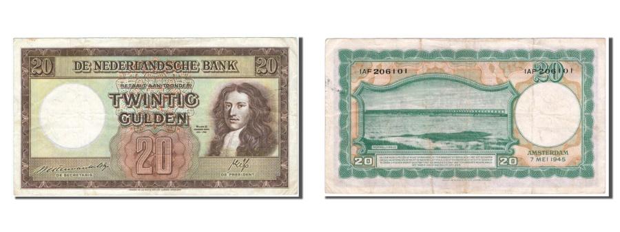 World Coins - Netherlands, 20 Gulden, 1945, KM #76, EF(40-45), IAF