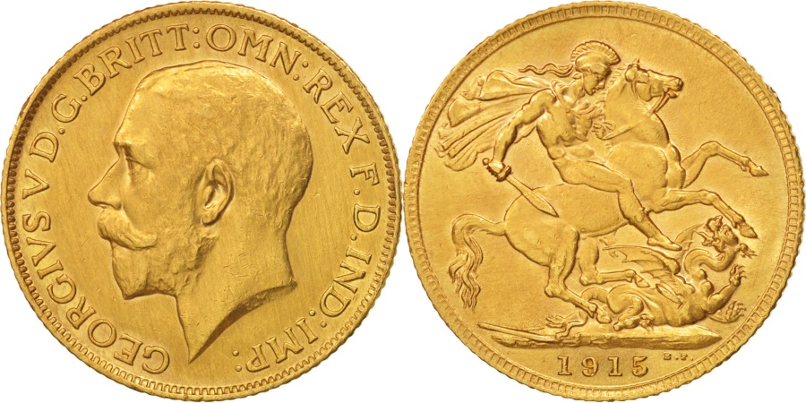 World Coins - Great Britain, George V, Sovereign, 1915, , Gold, KM:820
