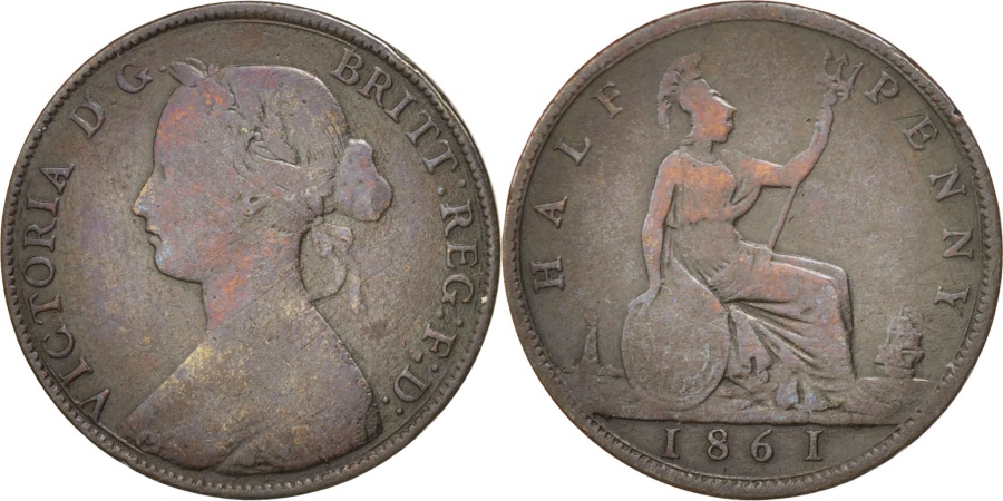 World Coins - GREAT BRITAIN, 1/2 Penny, 1861, KM #748.2, , Bronze, 5.50