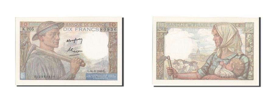 World Coins - France, 10 Francs, 10 F 1941-1949 ''Mineur'', 1949, KM #99f, 1949-06-30,...