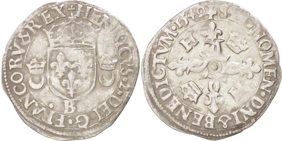 World Coins - Henry II (1547-1559), Douzain aux croissants, 1549, Rouen, Duplessy 997
