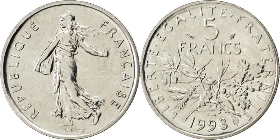 World Coins - FRANCE, Semeuse, 5 Francs, 1993, Paris, KM #926a.2, , Nickel Clad...