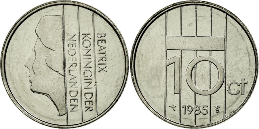 World Coins - Coin, Netherlands, Beatrix, 10 Cents, 1985, MS(65-70), Nickel, KM:203