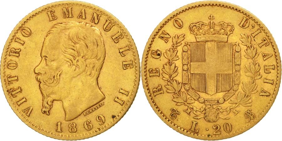 Italy vittorio emanuele ii 20 lire 1869 torino vf 30 for Coin torino