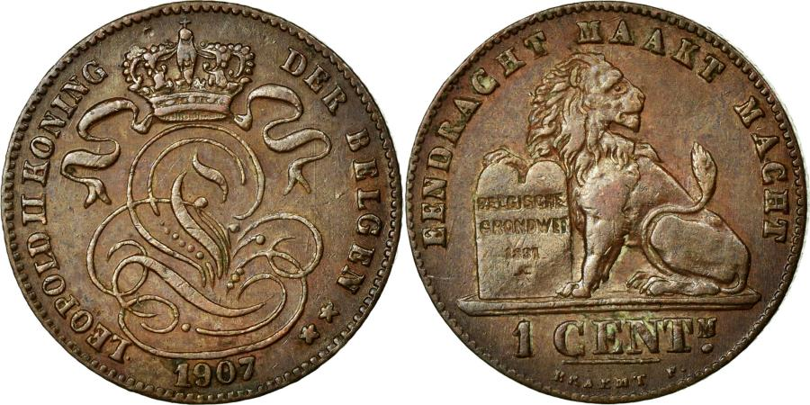 World Coins - Coin, Belgium, Leopold II, Centime, 1907, AU(55-58), Copper, KM:34.1