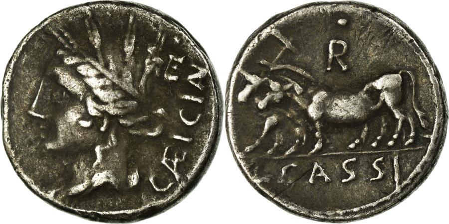 Ancient Coins - Coin, Cassia, Denarius, Rome, EF(40-45), Silver