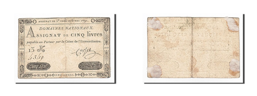 World Coins - France, 5 Livres, Corset, KM:A42, 1791-05-06, VF(20-25), Lafaurie:137