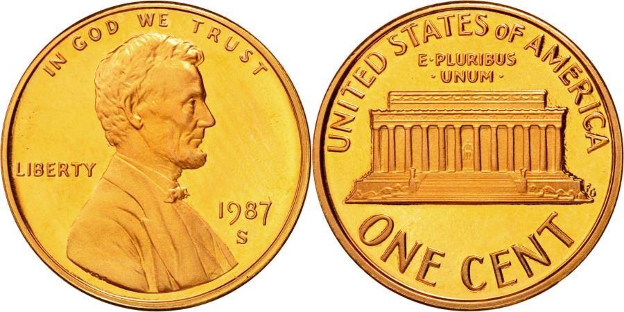 US Coins - Coin, United States, Lincoln Cent, Cent, 1987, U.S. Mint, San Francisco,