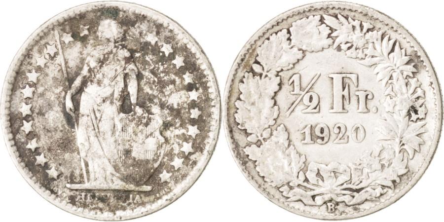 World Coins - Switzerland, 1/2 Franc, 1920, Bern, , Silver, KM:23