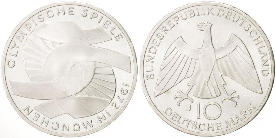 World Coins - GERMANY - FEDERAL REPUBLIC, 10 Mark, 1972, Hamburg, , Silver, KM:131