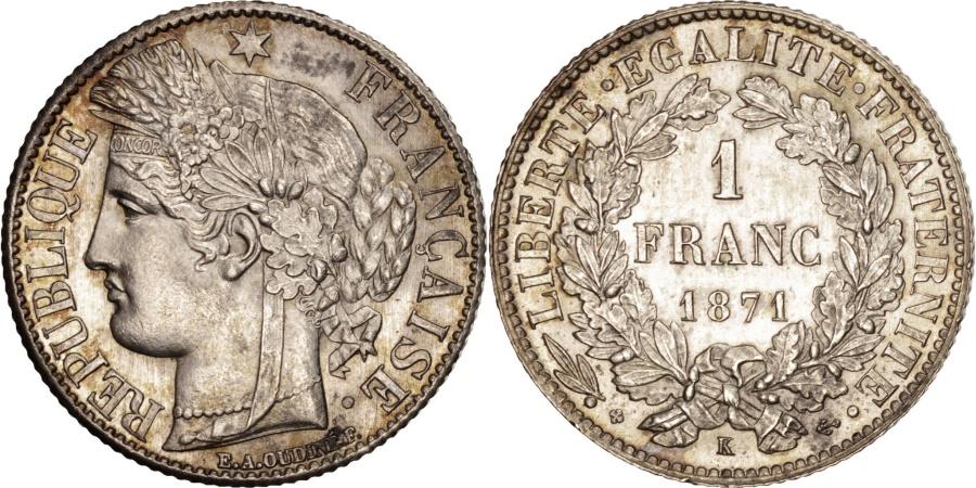 World Coins - France, Cérès, Franc, 1871, Bordeaux, , Silver, KM:822.2, Gadoury:465a