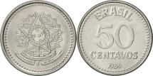 World Coins - Brazil, 50 Centavos, 1986, AU(55-58), Stainless Steel, KM:604