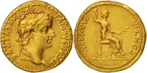Tiberius, Aureus, Lyons, AU(50-53), Gold, RIC:29