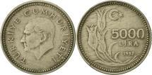 World Coins - Turkey, 5000 Lira, 1992, EF(40-45), Nickel-Bronze, KM:1025