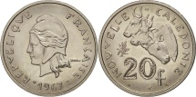 World Coins - New Caledonia, 20 Francs, 1967, Paris, MS(63), Nickel, KM:6