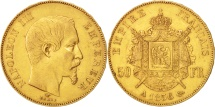 France, 50 Francs, 1856, Paris, EF(40-45), Gold, KM:785.1, Gadoury:1111