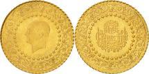 World Coins - Turkey, 25 Kurush, 1968, MS(63), Gold, KM:870
