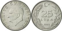 World Coins - Turkey, 25 Lira, 1985, AU(55-58), Aluminum, KM:975