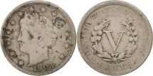 Us Coins - United States, Liberty Nickel, 5 Cents, 1903, U.S. Mint, Philadelphia, F(12-15)